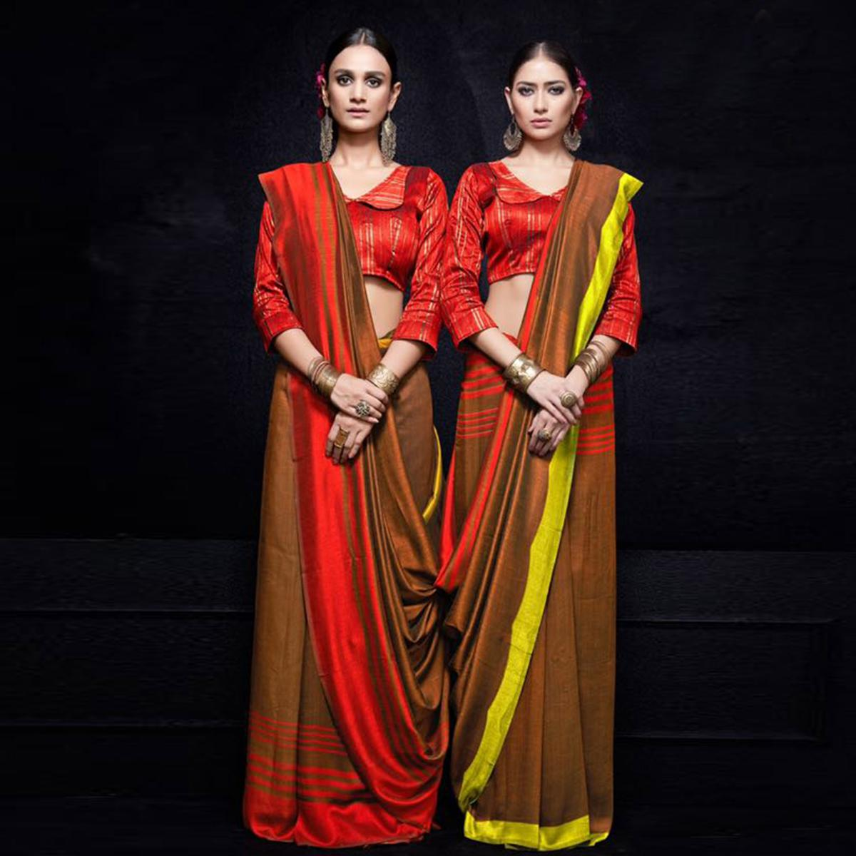 Excellent Brown-Red Colored Reversible Jacquard Saree
