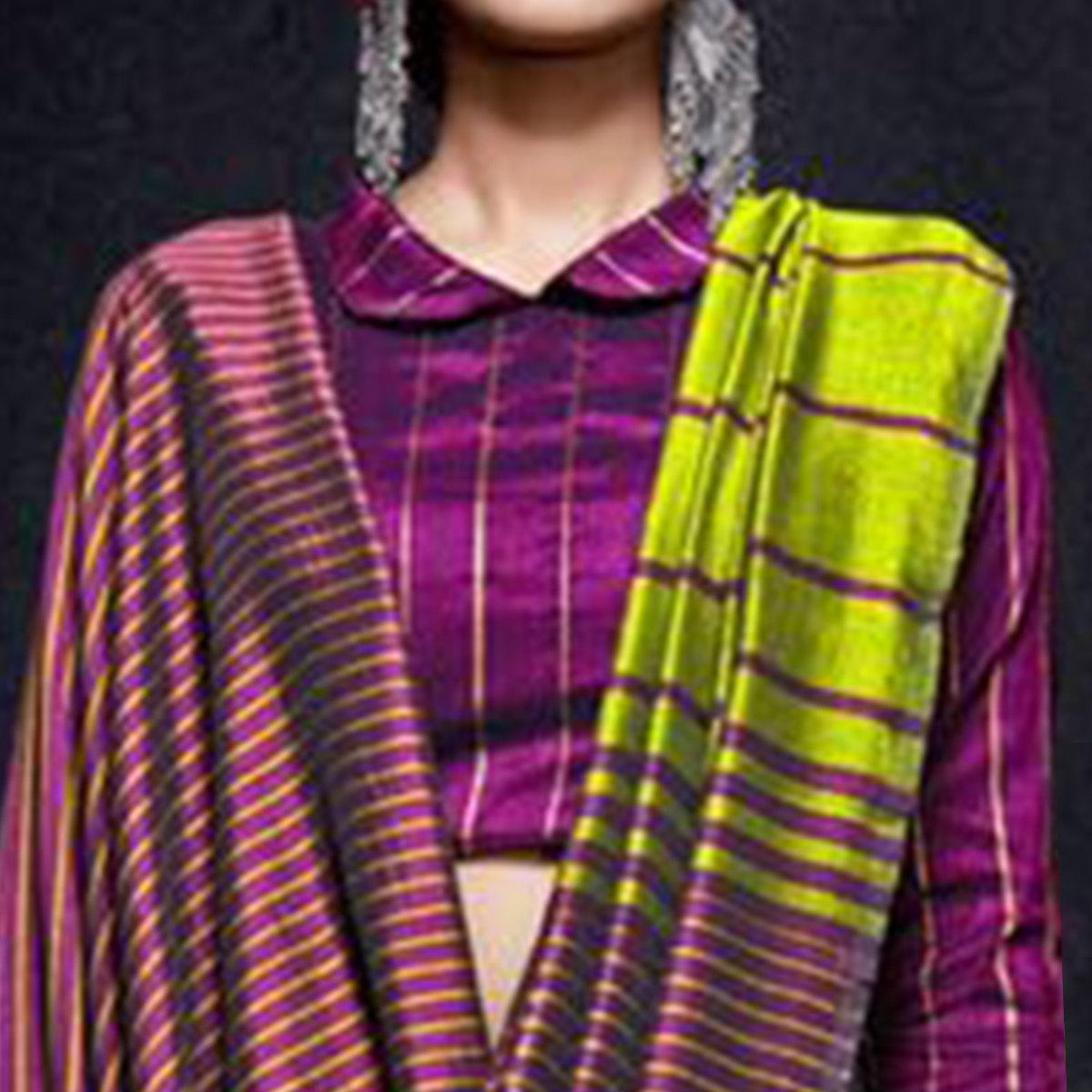Ethnic Green-Purple Colored Reversible Jacquard Saree