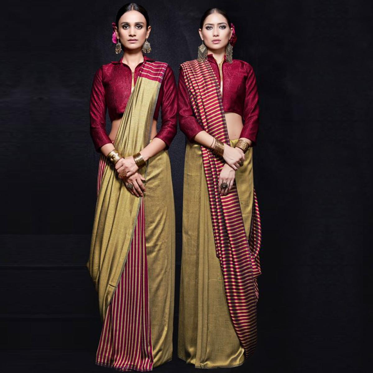 Starring Beige-Maroon Colored Reversible Jacquard Saree