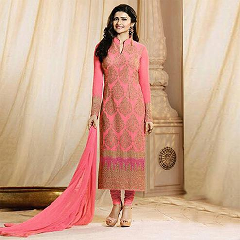 Pink Party Wear Georgette Embroidered Designer Salwar Suit