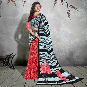 Attractive Red-Black Colored Casual Digital Printed Georgette Saree