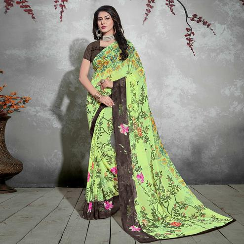 Beautiful Light Green-Brown Colored Casual Digital Printed Georgette Saree