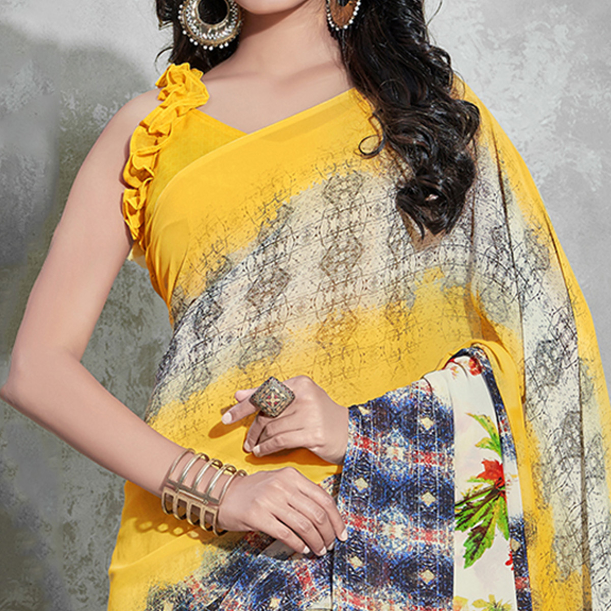 Gorgeous Yellow-Blue Colored Casual Digital Printed Georgette Saree