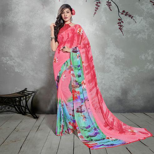 Glorious Pink Colored Casual Digital Printed Georgette Saree