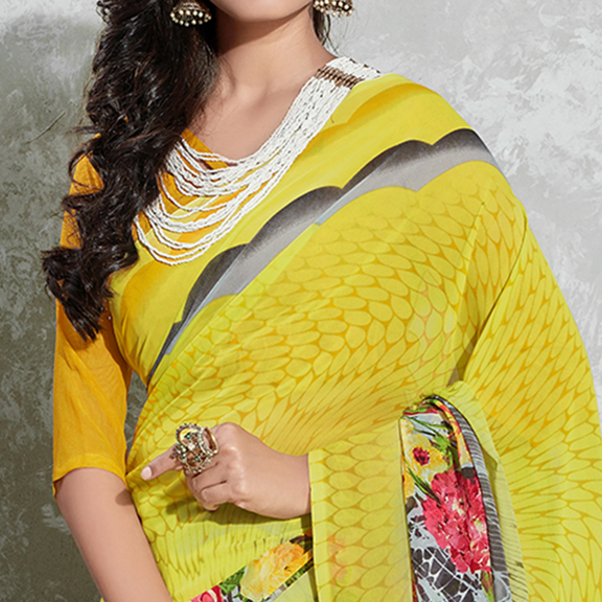 Graceful Yellow Colored Casual Digital Printed Georgette Saree