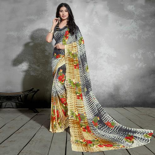 Lovely Black-Brown Colored Casual Digital Printed Georgette Saree