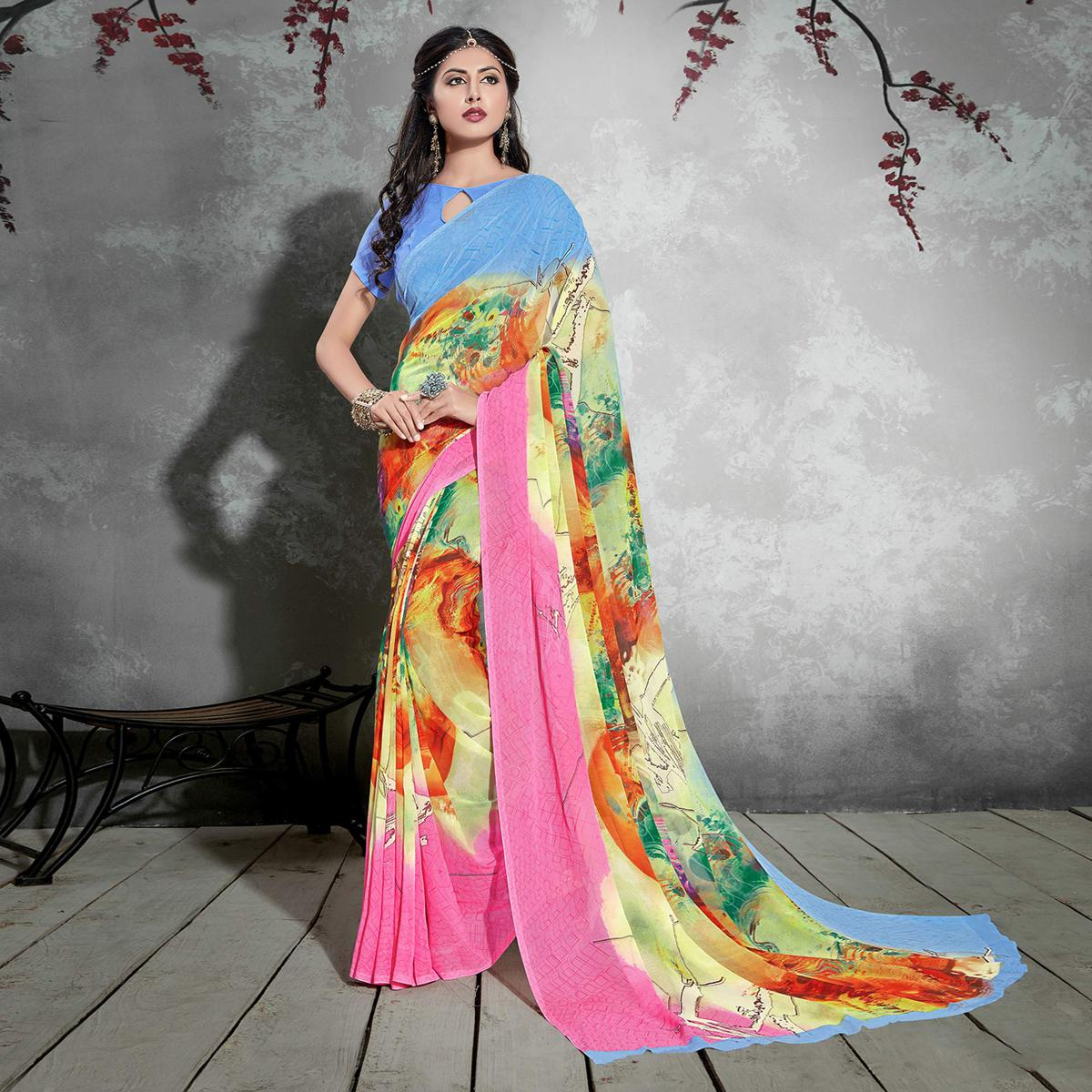 Pretty Multicolored Casual Digital Printed Georgette Saree