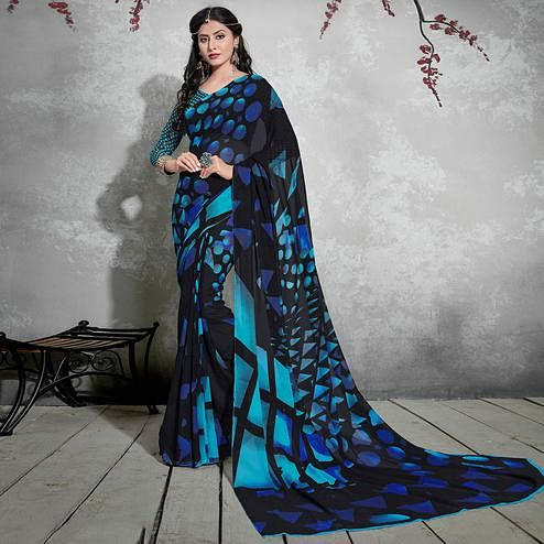 Charming Black-Teal Blue Colored Casual Digital Printed Georgette Saree