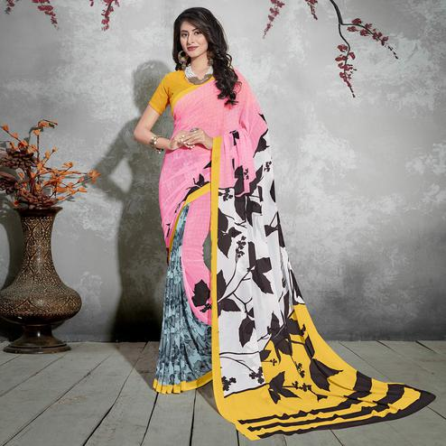 Ravishing Pink-Black Colored Casual Digital Printed Georgette Saree