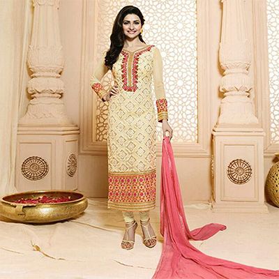 Yellow Party Wear Georgette Embroidered Designer Salwar Suit