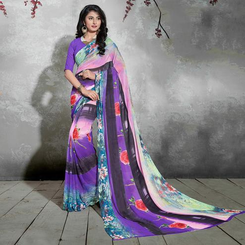 Delightful Purple-Black Colored Casual Digital Printed Georgette Saree