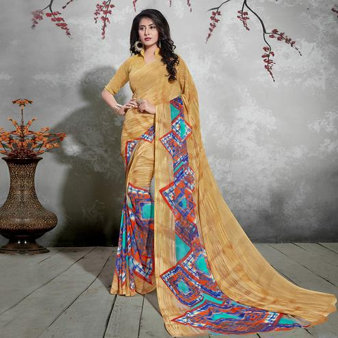 Stunning Beige Colored Casual Digital Printed Georgette Saree
