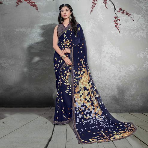 Blooming Dark Blue Colored Casual Digital Printed Georgette Saree
