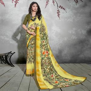 Marvellous Green-Yellow Colored Casual Digital Printed Georgette Saree