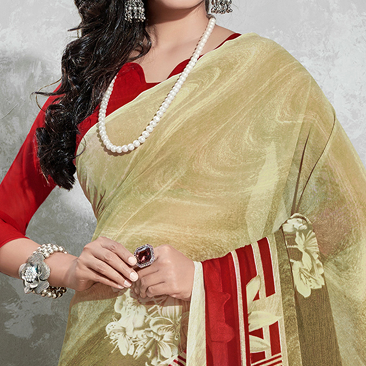 Mesmerising Beige-Red Colored Casual Digital Printed Georgette Saree