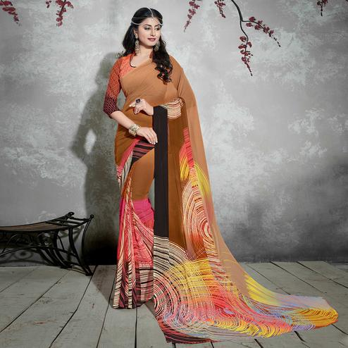 Ravishing Brown-Multiolored Casual Digital Printed Georgette Saree