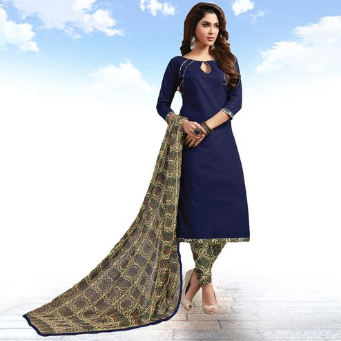 Adorable Navy Blue Colored Casual Wear Printed Cotton Salwar suit