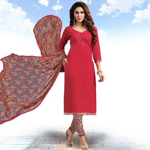 Attractive Red Colored Casual Wear Printed Cotton Salwar suit