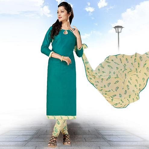 Beautiful Teal Green Colored Casual Wear Printed Cotton Salwar suit