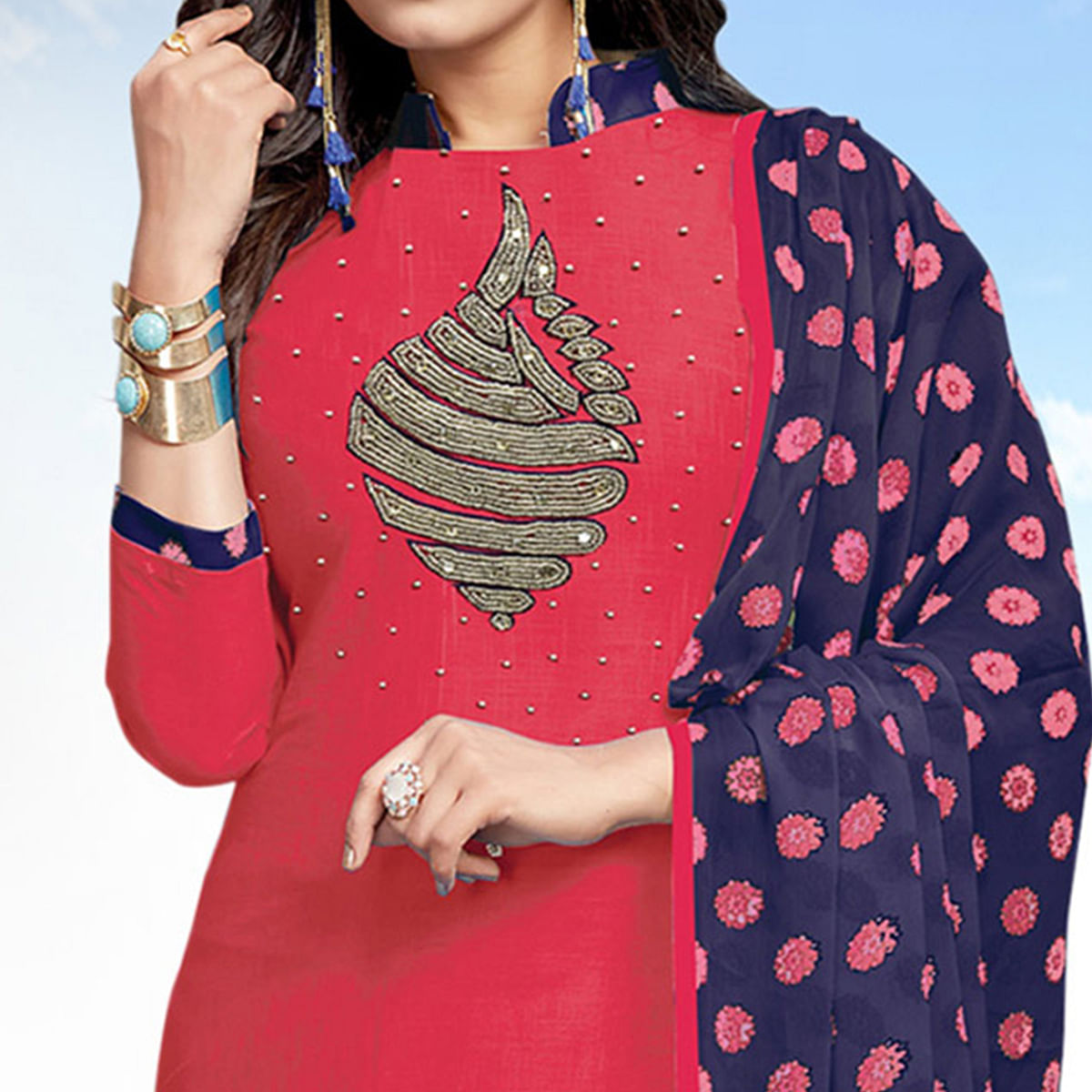 Gorgeous Pink Colored Casual Wear Printed Cotton Salwar suit