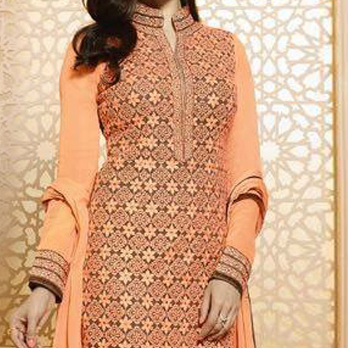 Orange Party Wear Georgette Embroidered Designer Salwar Suit