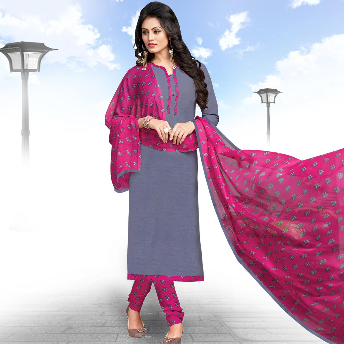 Classy Grey Colored Casual Wear Printed Cotton Salwar suit
