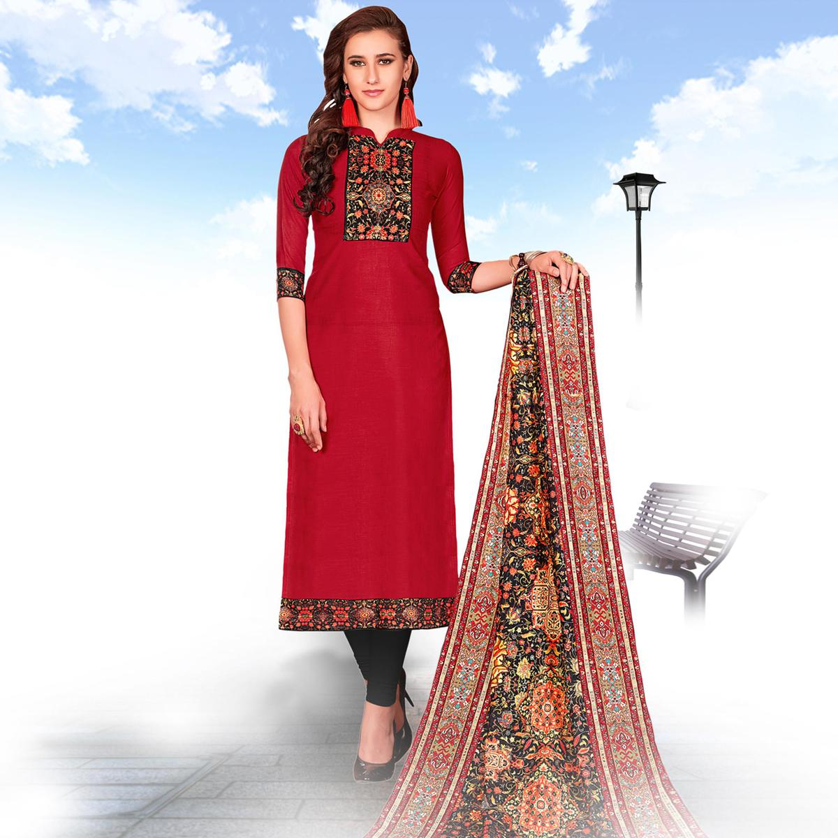 Graceful Red Colored Casual Wear Printed Cotton Salwar suit