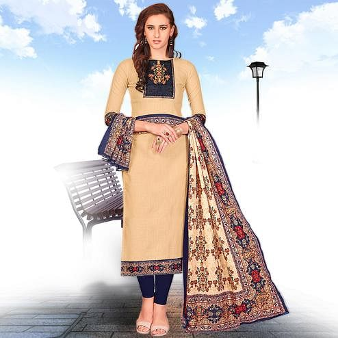 Pretty Beige Colored Casual Wear Printed Cotton Salwar suit