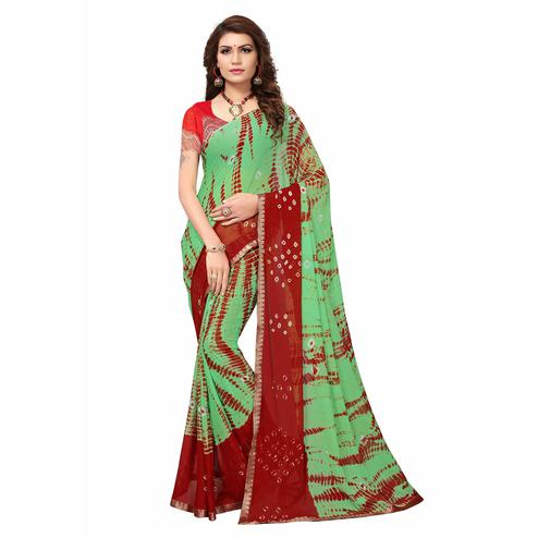 Beautiful Green Colored Casual Printed Chiffon Saree