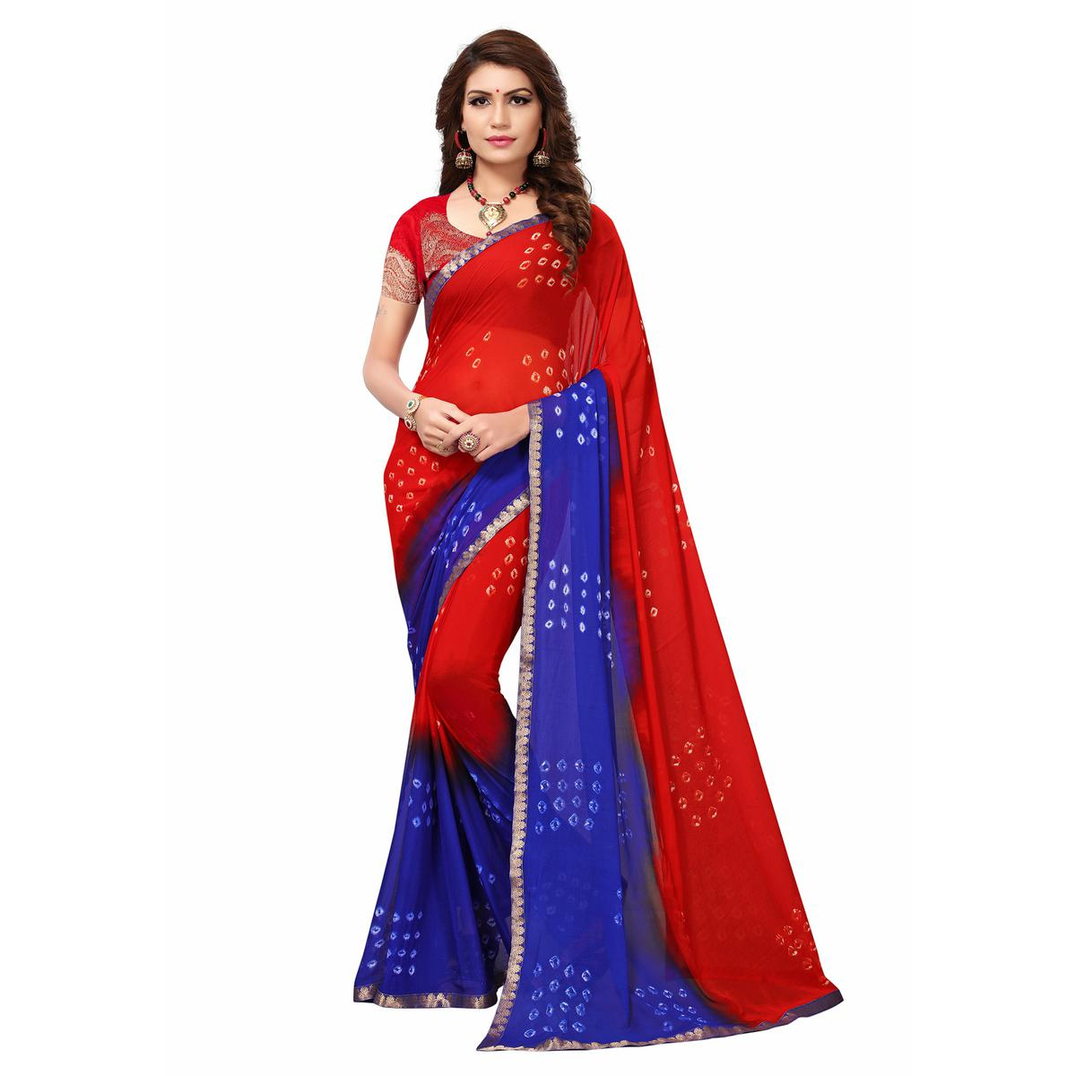 Attractive Red-Blue Colored Casual Printed Chiffon Saree