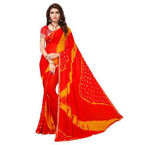 Glowing Red Colored Casual Printed Chiffon Saree