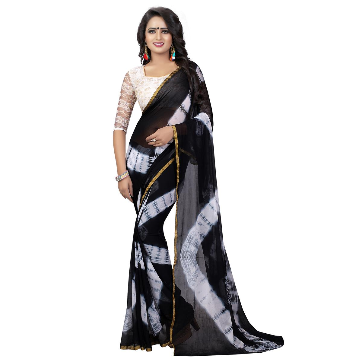 Adorning Black Colored Casual Printed Chiffon Saree