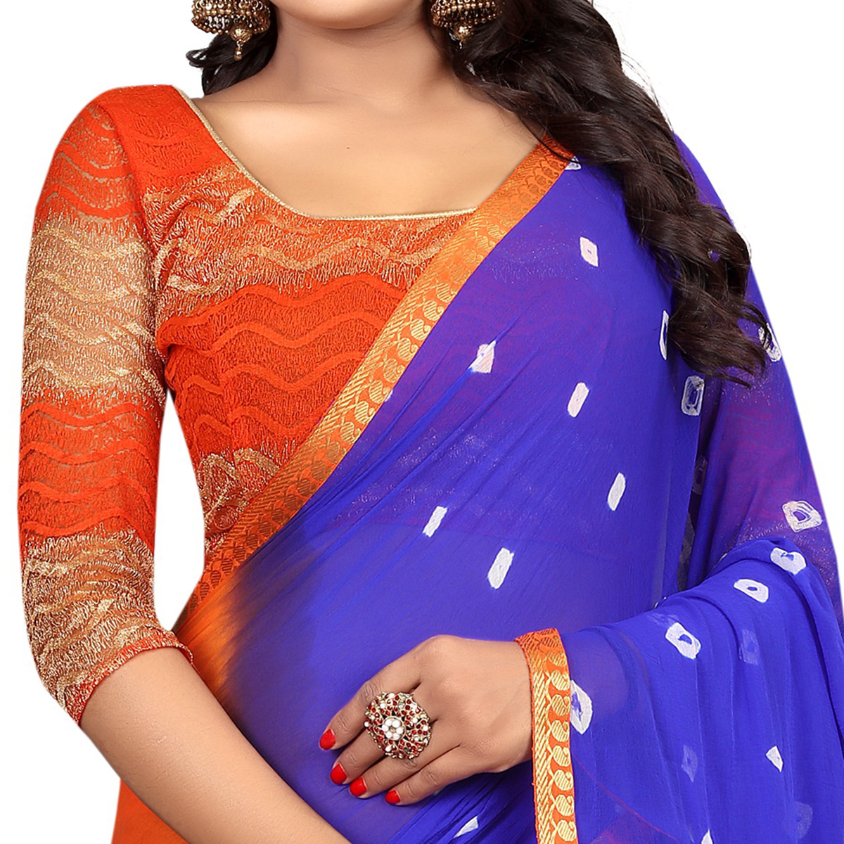 Unique Blue-Orange Colored Casual Printed Chiffon Saree
