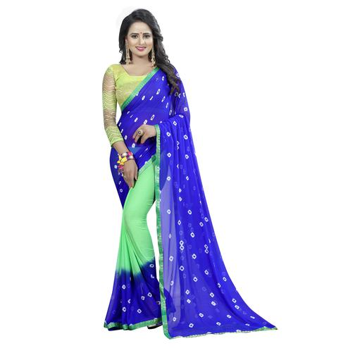 Gorgeous Blue-Pista Green Colored Casual Printed Chiffon Saree