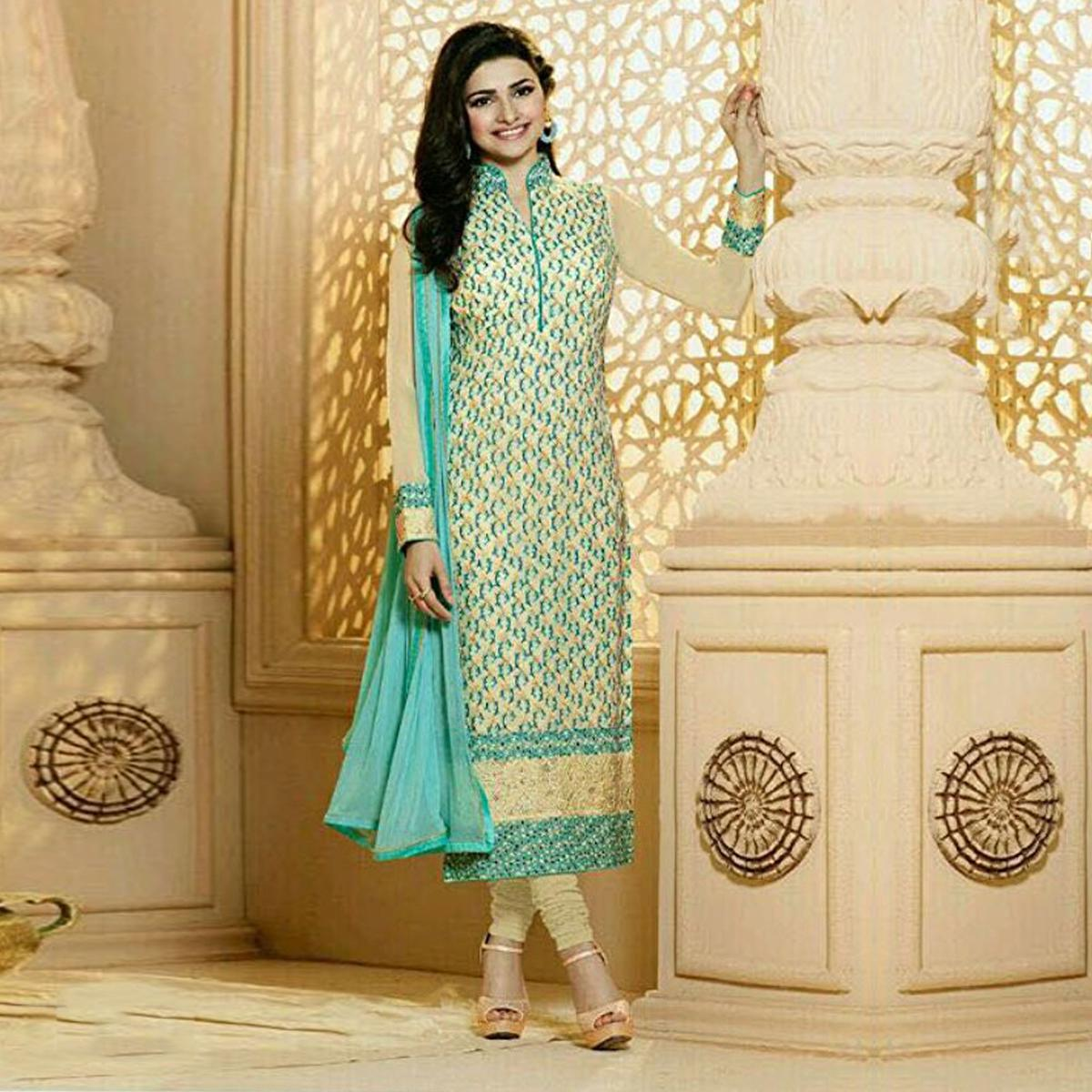 Cream Party Wear Georgette Embroidered Designer Salwar Suit