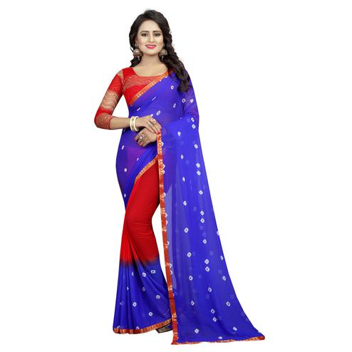 Irresistible Blue-Red Colored Casual Printed Chiffon Saree