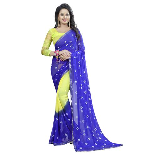 Mesmeric Blue-Lemon Yellow Colored Casual Printed Chiffon Saree
