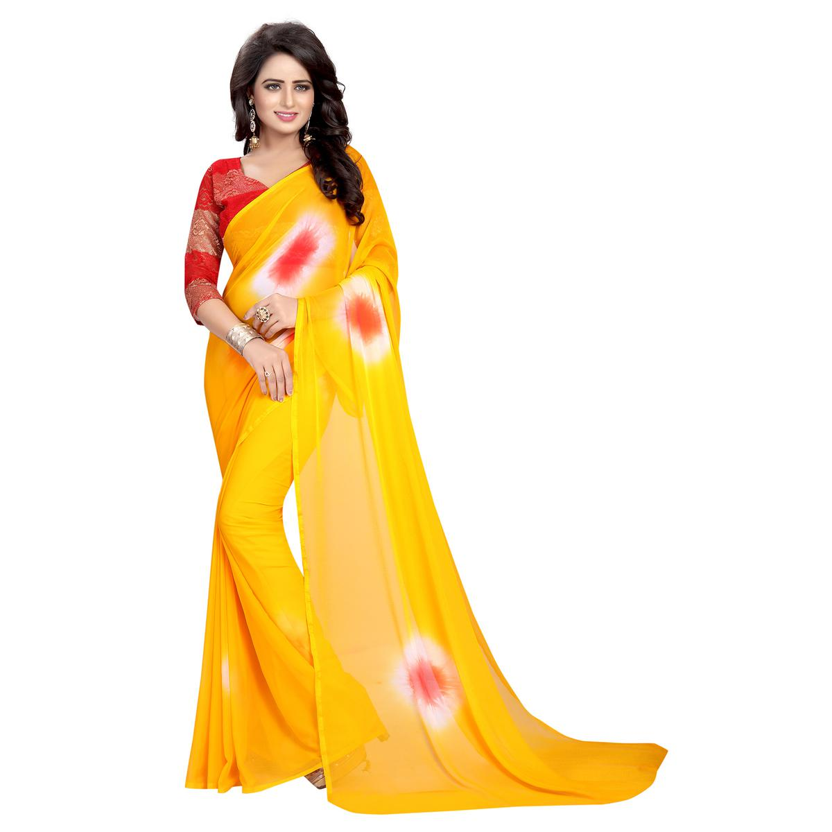 Magnetic Yellow Colored Casual Printed Chiffon Saree