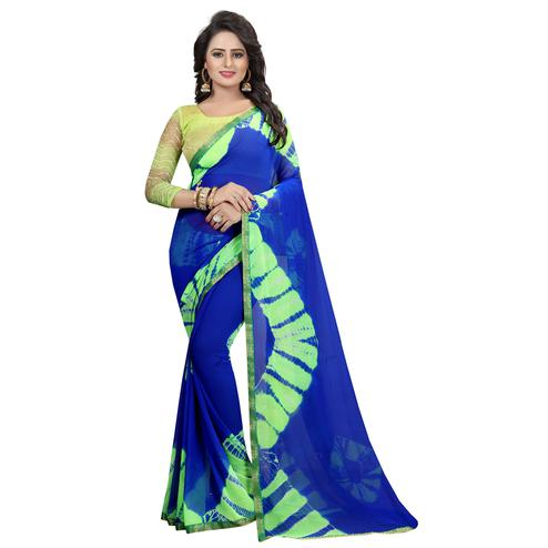 Energetic Blue Colored Casual Printed Chiffon Saree