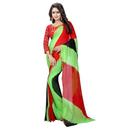 Mesmeric Multi Colored Casual Printed Chiffon Saree