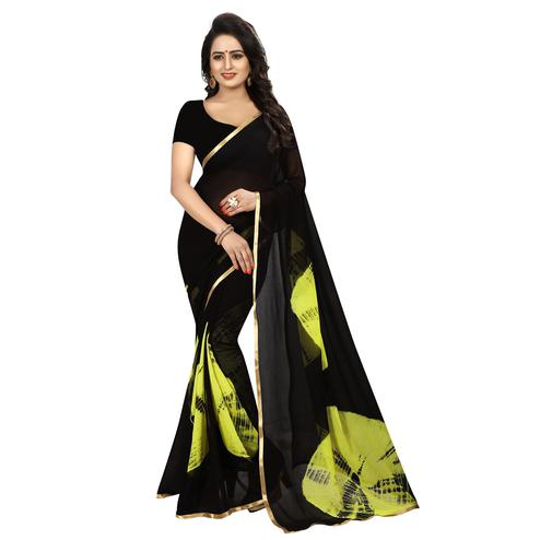 Flaunt Black Colored Casual Printed Chiffon Saree