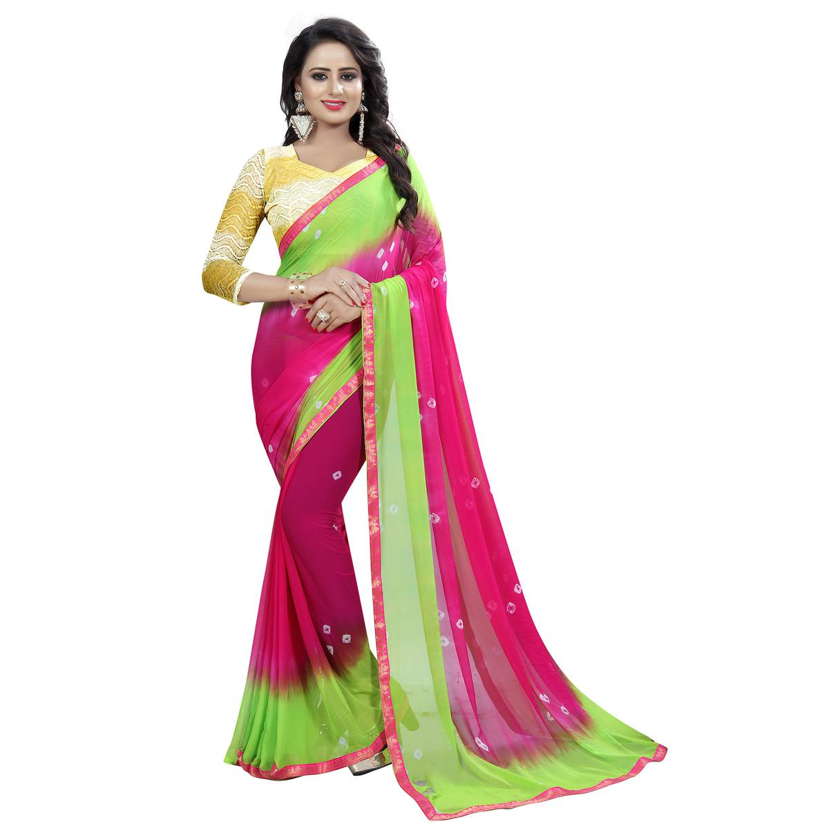 Classy Pink Colored Casual Printed Chiffon Saree