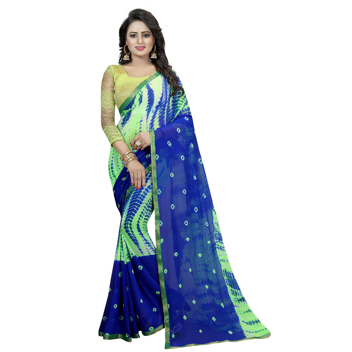 Lovely Green-Blue Colored Casual Printed Chiffon Saree