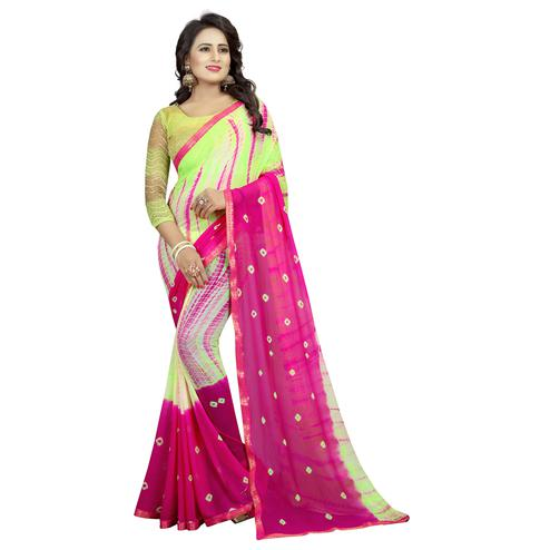 Groovy Pink-Lemon Green Colored Casual Printed Chiffon Saree