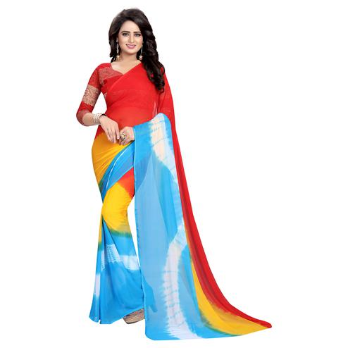 Gleaming Red-Multi Colored Casual Printed Chiffon Saree