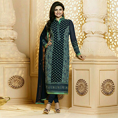Blue Party Wear Georgette Embroidered Designer Salwar Suit