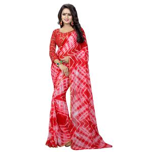 Desiring Red Colored Casual Printed Chiffon Saree