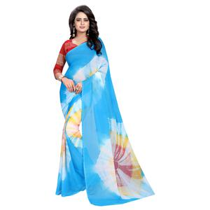 Demanding Sky Blue Colored Casual Printed Chiffon Saree