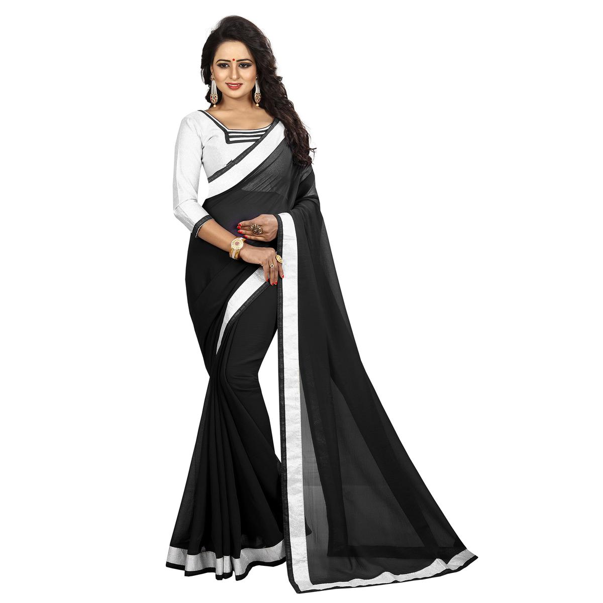 Impressive Black Colored Casual Printed Chiffon Saree