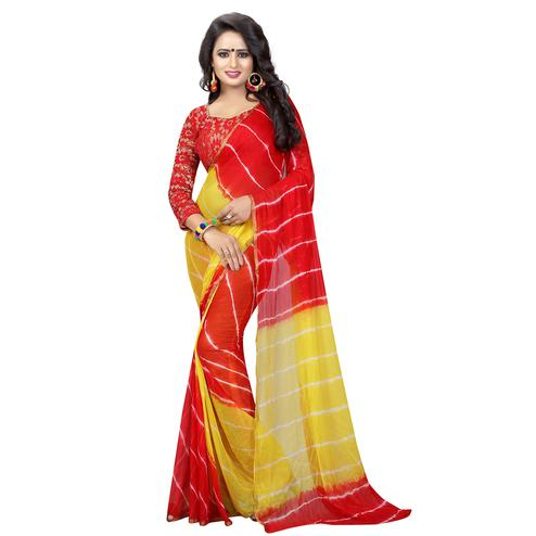 Appealing Red-Yellow Colored Casual Printed Chiffon Saree